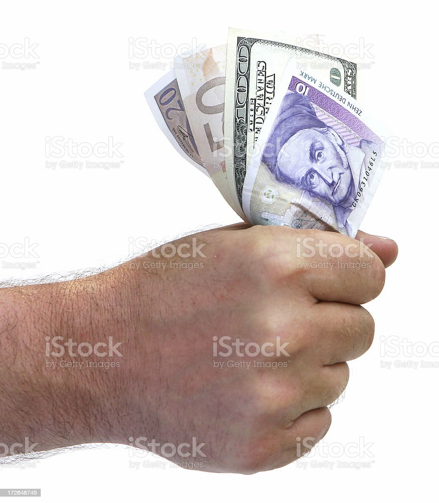 Fistfull of World Money royalty-free stock photo