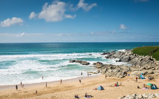 Fistral beach, Cornwall, England in summer.