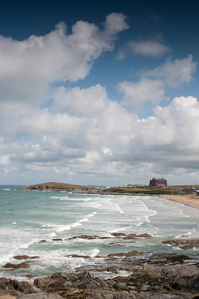 fistral beach newquay cornwall - cornwall stock pictures, royalty-free photos & images
