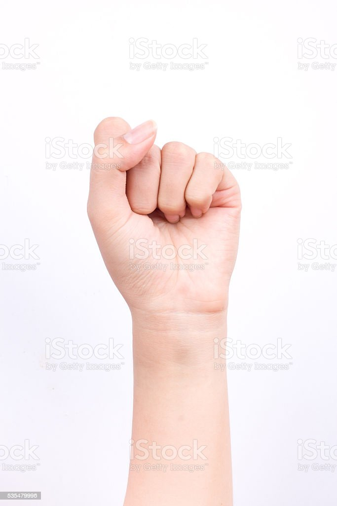 fists handful strong fighting and Zero point finger hand symbols stock photo