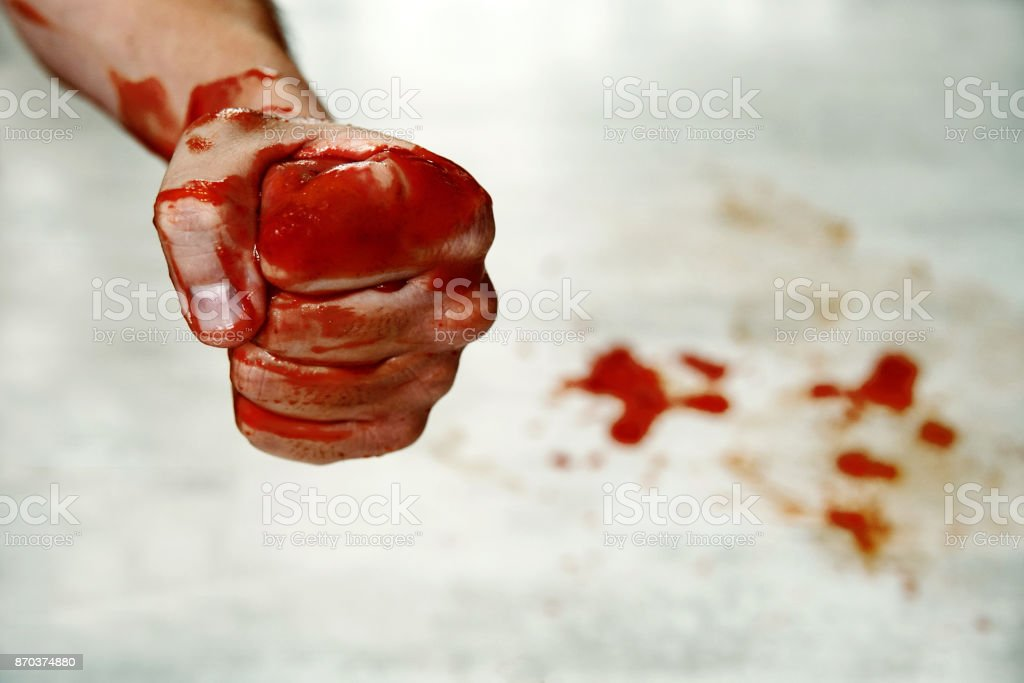 Fists with blood. stock photo