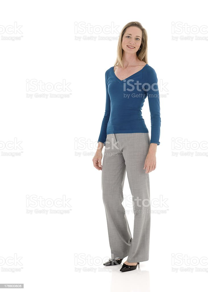 Fit and Cheerful Middle Aged Businesswoman (Isolated) stock photo