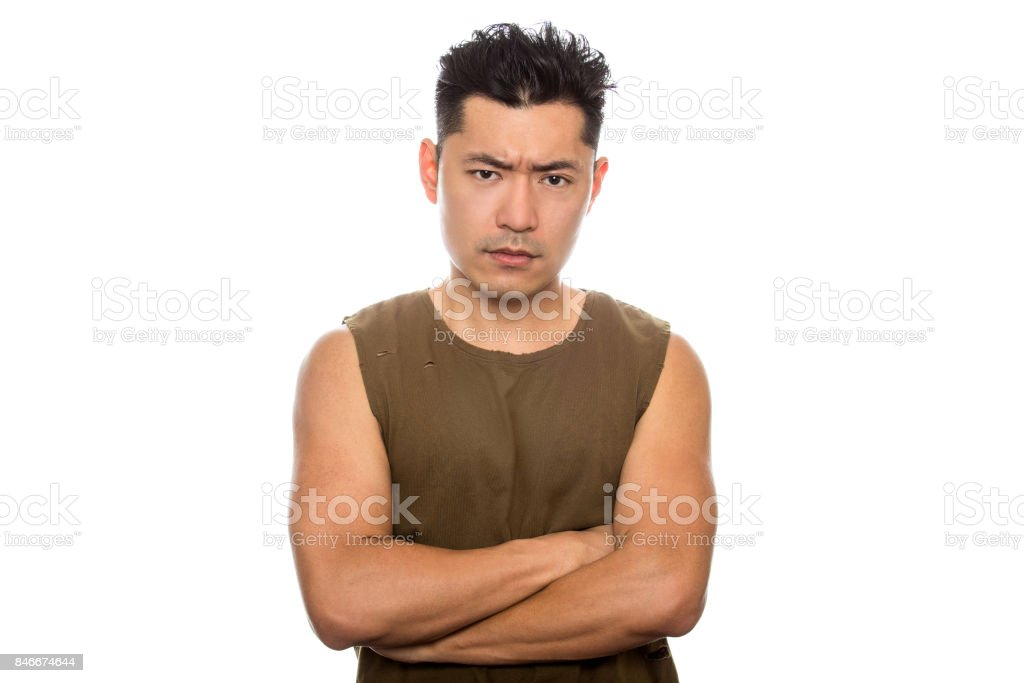 Fit Athletic Asian Male Being Angry stock photo