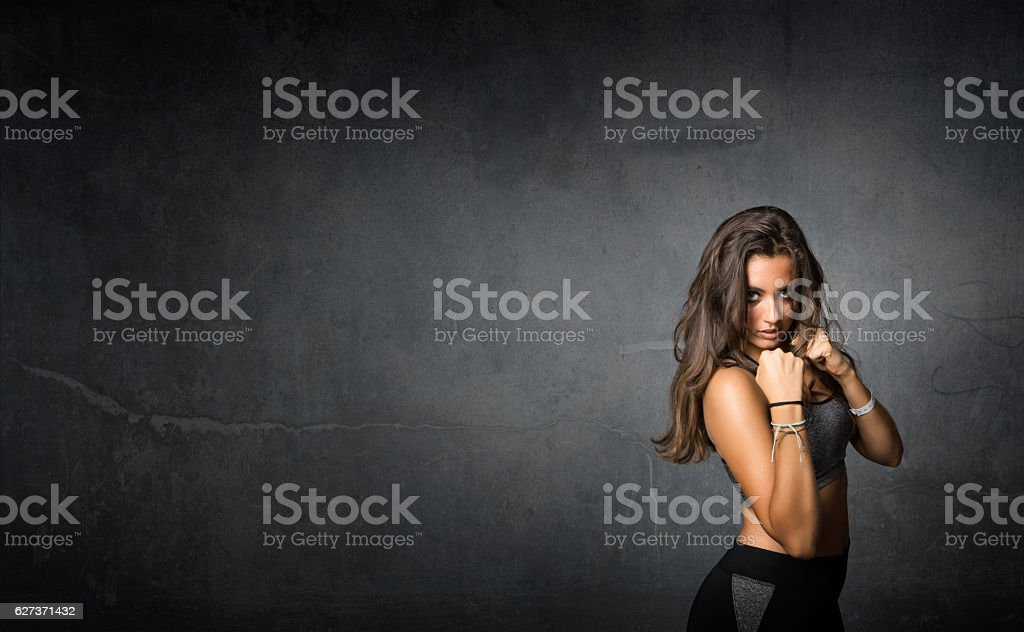fit boxer ready for fight stock photo