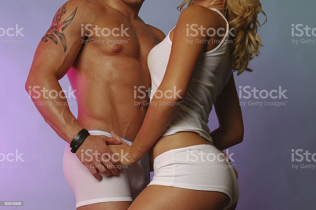 Fit couple in white stock photo