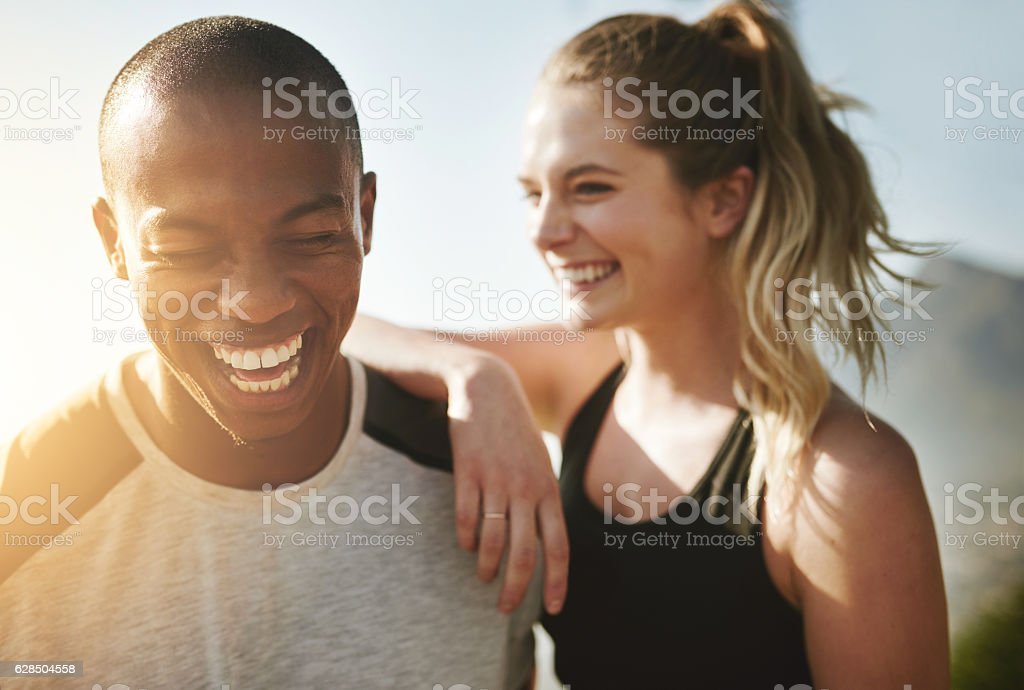 Fit couple relationship goals stock photo