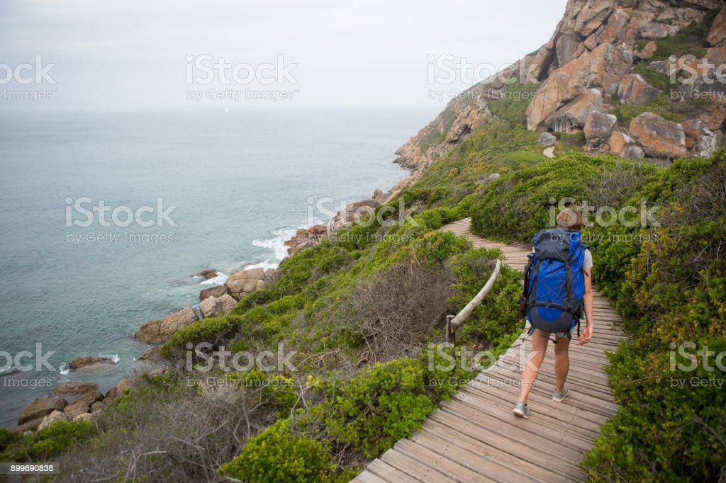 Fit female hiking along a wooden boardwalk stock photo