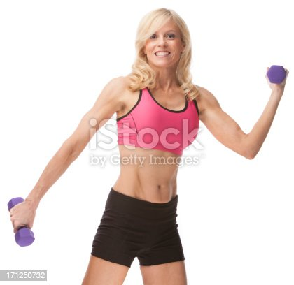 Fit Fifty Year Old Woman Working Out Stock Photo & More