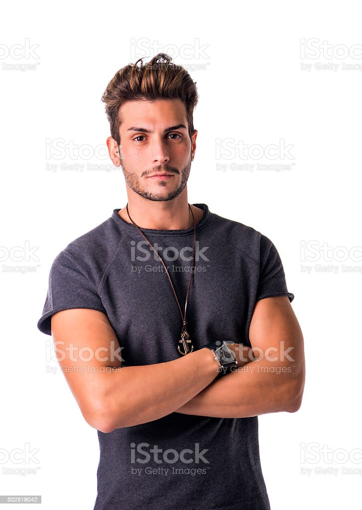 Fit handsome young man confident in casual clothes isolated stock photo