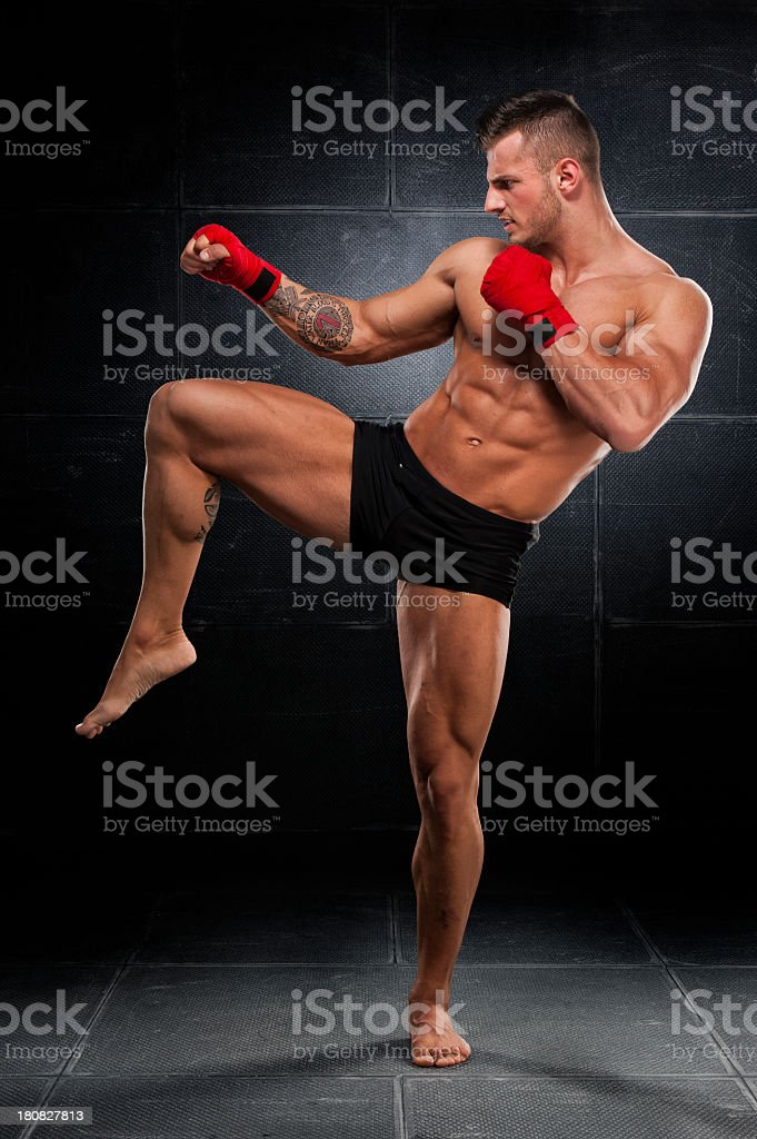 A fit male fighter wearing boxing gloves royalty-free stock photo