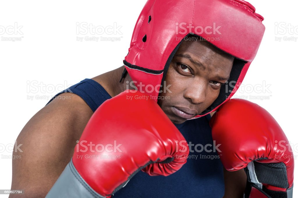 Fit man boxing with gloves royalty-free stock photo