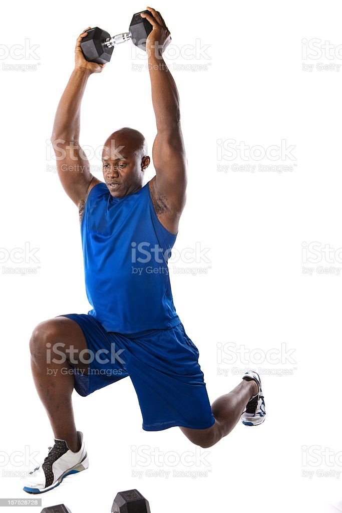 Fit Man Doing A Lunge stock photo