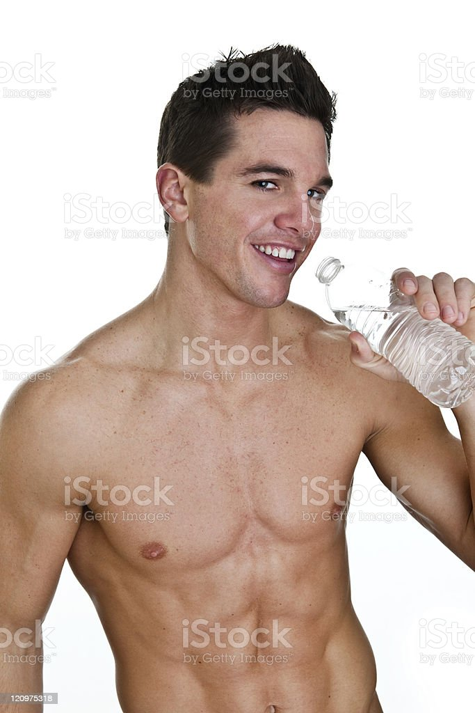 Fit man drinking water royalty-free stock photo