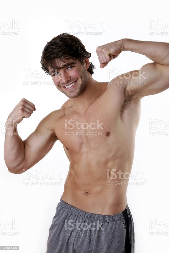 Fit man flexing royalty-free stock photo