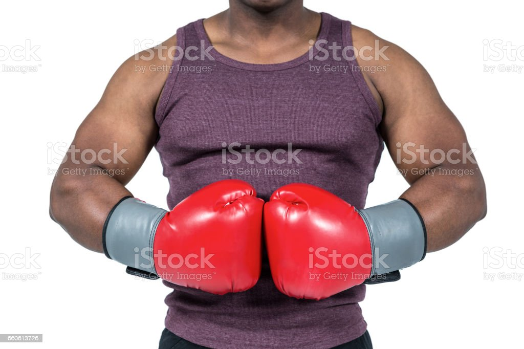 Fit man with boxing gloves royalty-free stock photo