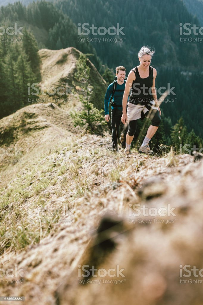 Fit Mature Couple on Mountain Hike royalty-free stock photo