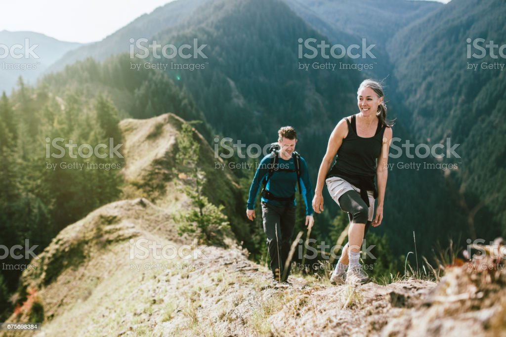 Fit Mature Couple on Mountain Hike stock photo