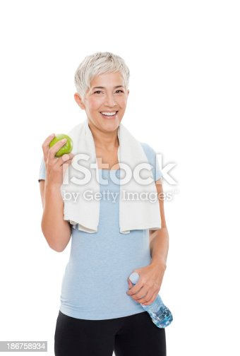 istock Fit mature woman 186758934