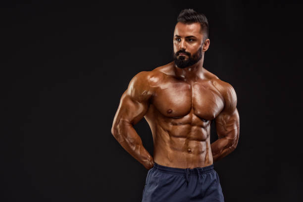Fit, Muscular Men Exercise stock photo