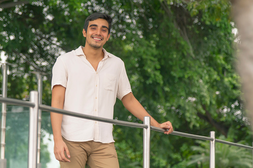 Fit Natural young male portrait of casual smiling at Guayaquil, Ecuador