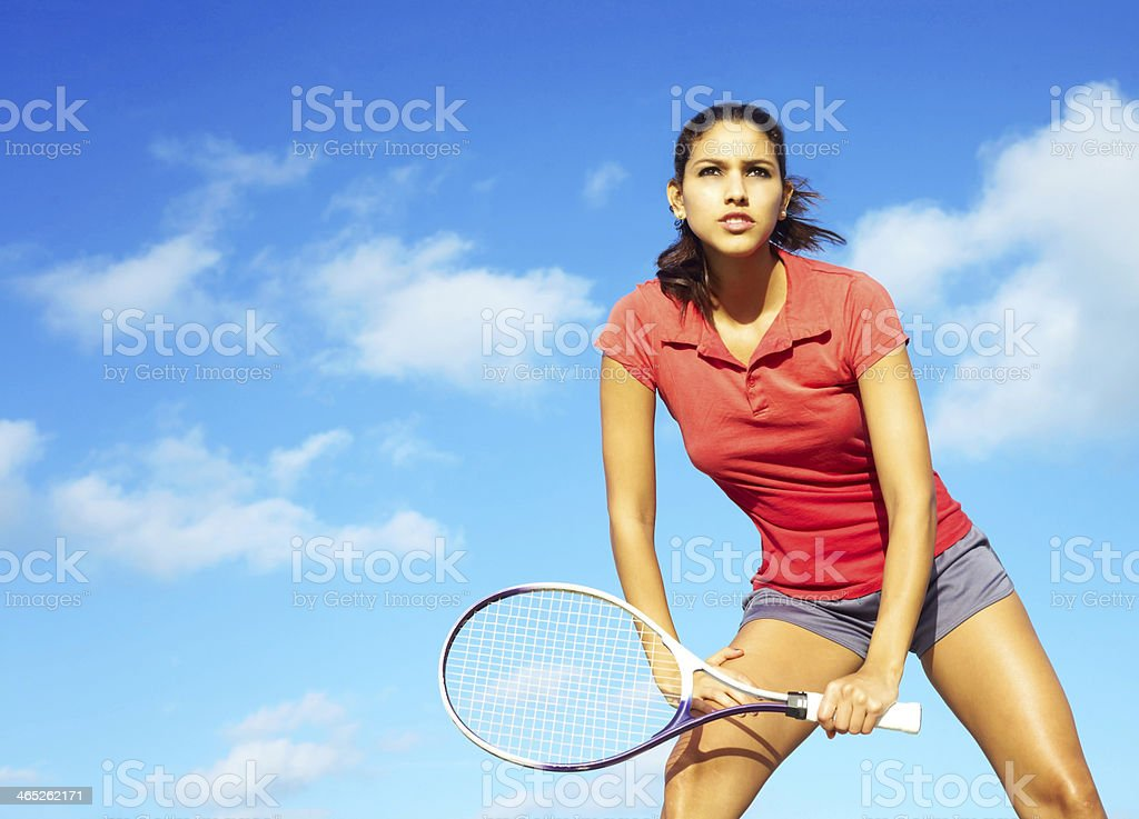 Fit Pretty Miced Race Female Athlete Playing Tennis stock photo