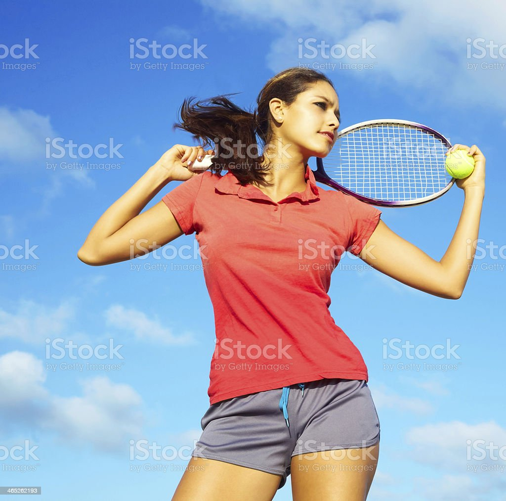 Fit Pretty Miced Race Female Athlete Playing Tennis royalty-free stock photo