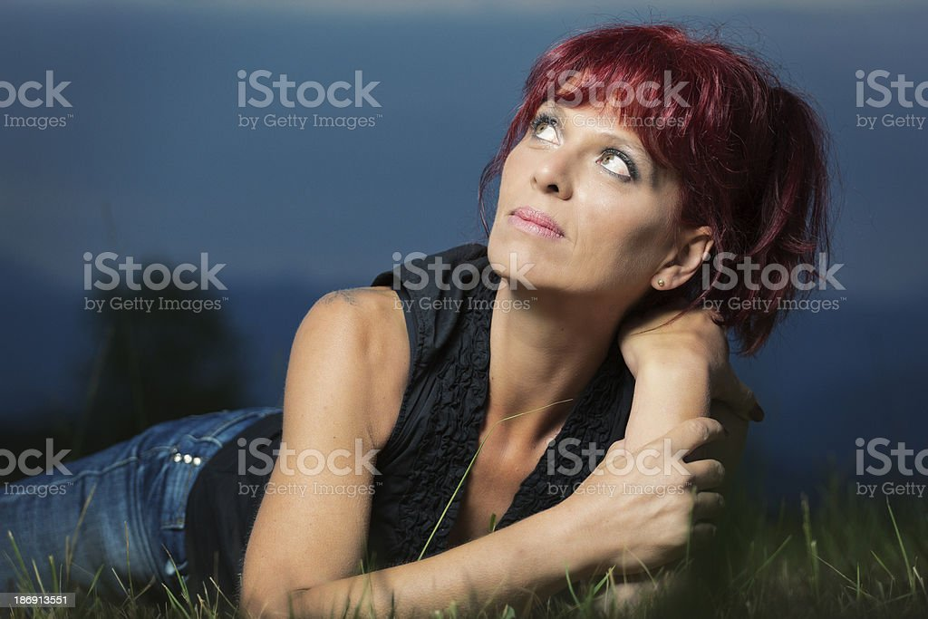 Fit read head in her 40s royalty-free stock photo