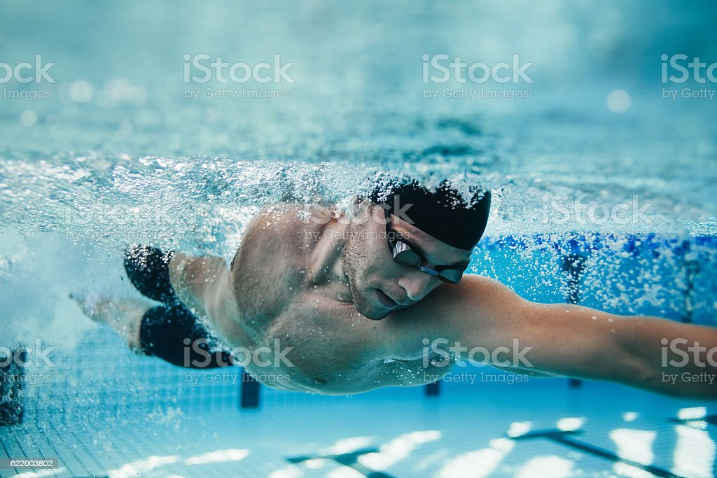Fit swimmer training in the pool - foto stock