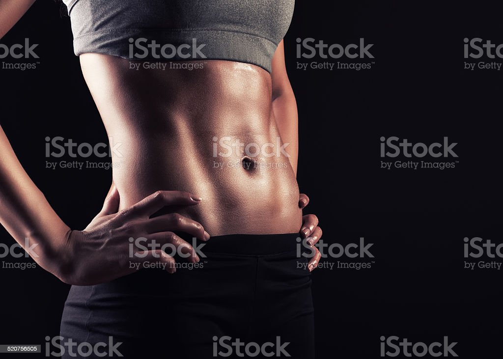 Fit woman abs stock photo