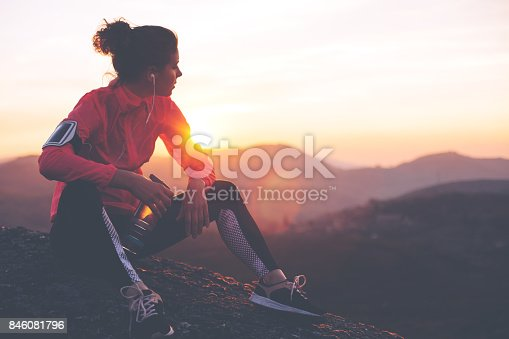 istock Fit woman athlete resting outdoors 846081796