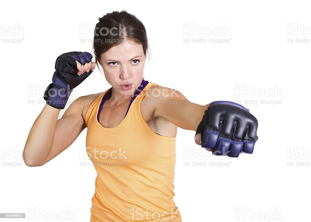 Fit woman boxing and training stock photo