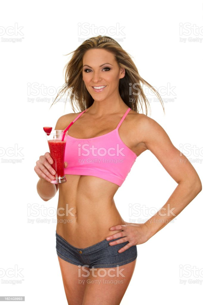fit woman holding smoothie royalty-free stock photo
