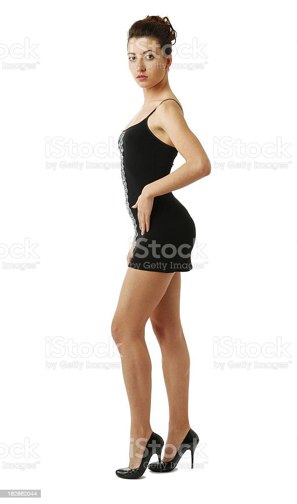 Fit woman in short dress stock photo