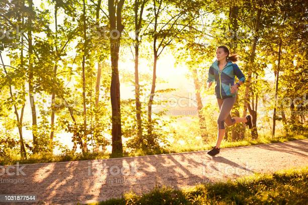 Fit Frau Läuft Am Morgen Stockfoto und mehr Bilder von Aktiver Lebensstil