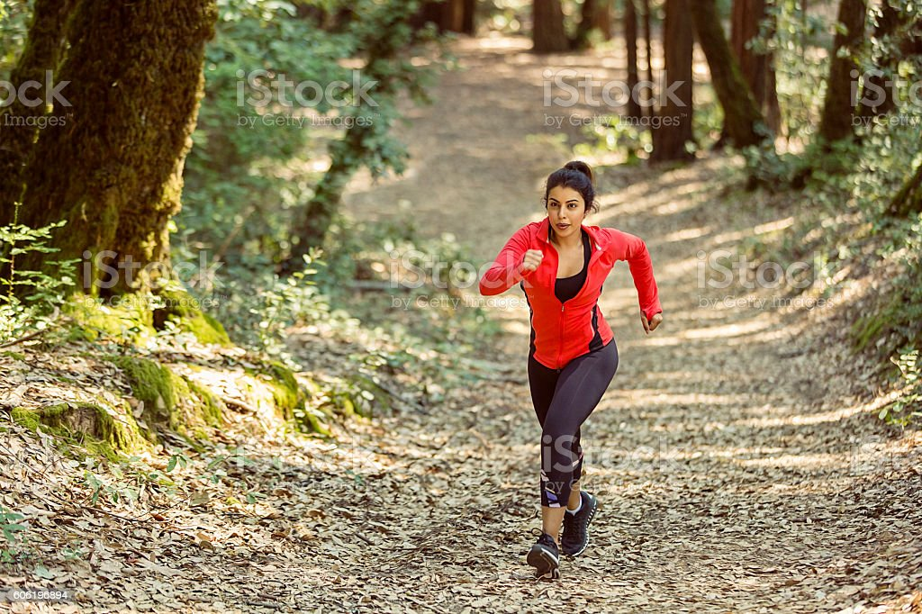 Fit Woman Trail Runner stock photo