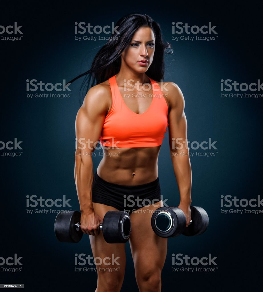 Fit Women Exercise With Weights foto de stock royalty-free