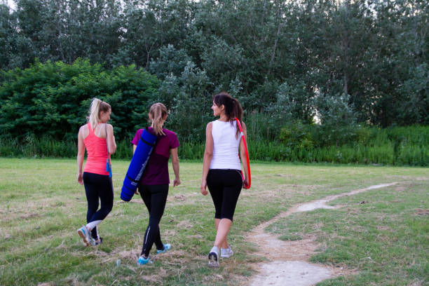 Fit women ready for an outdoor training stock photo