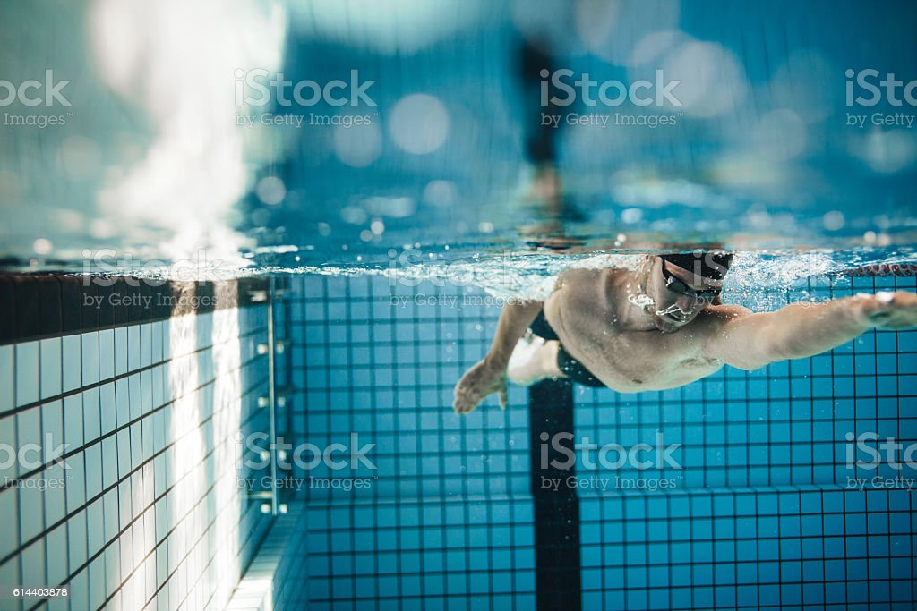 Fit young male swimmer training in the pool stock photo