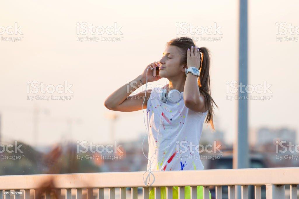 Fitnes girl taking a break stock photo