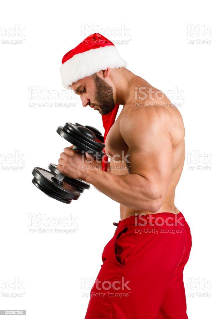 Fitnes Santa Claus isolated white background stock photo