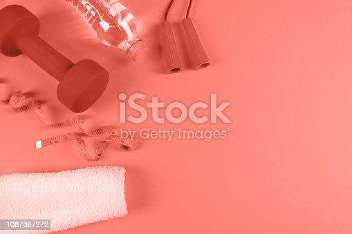 istock Fitness accessories, healthy and sport life concept. 1087867272