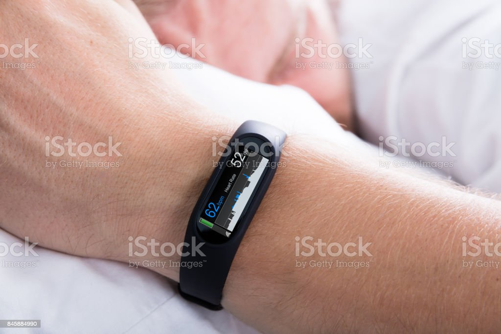 Fitness Activity Tracker With Heartbeat Rate stock photo