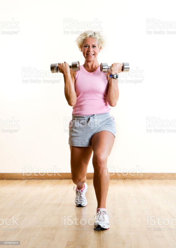 fitness: aerobic lunge royalty-free stock photo