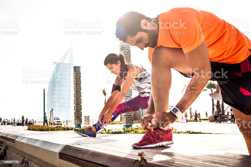 Fitness and exercising in Dubai - Sporty People stock photo