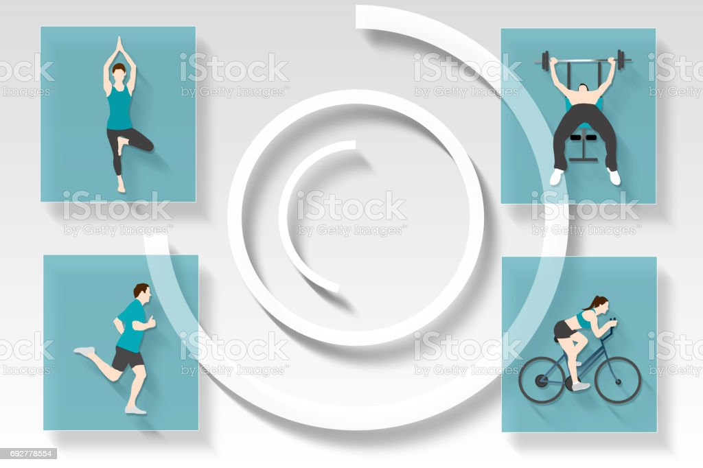 Fitness and health app menu stock photo