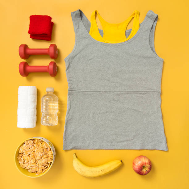 Fitness and healthy lifestyle flatlay stock photo