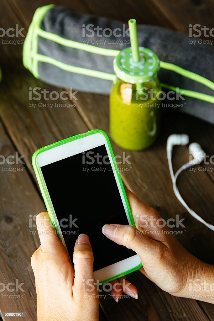 Eignung und Ernährung-Konzept. smartphone-app – Foto