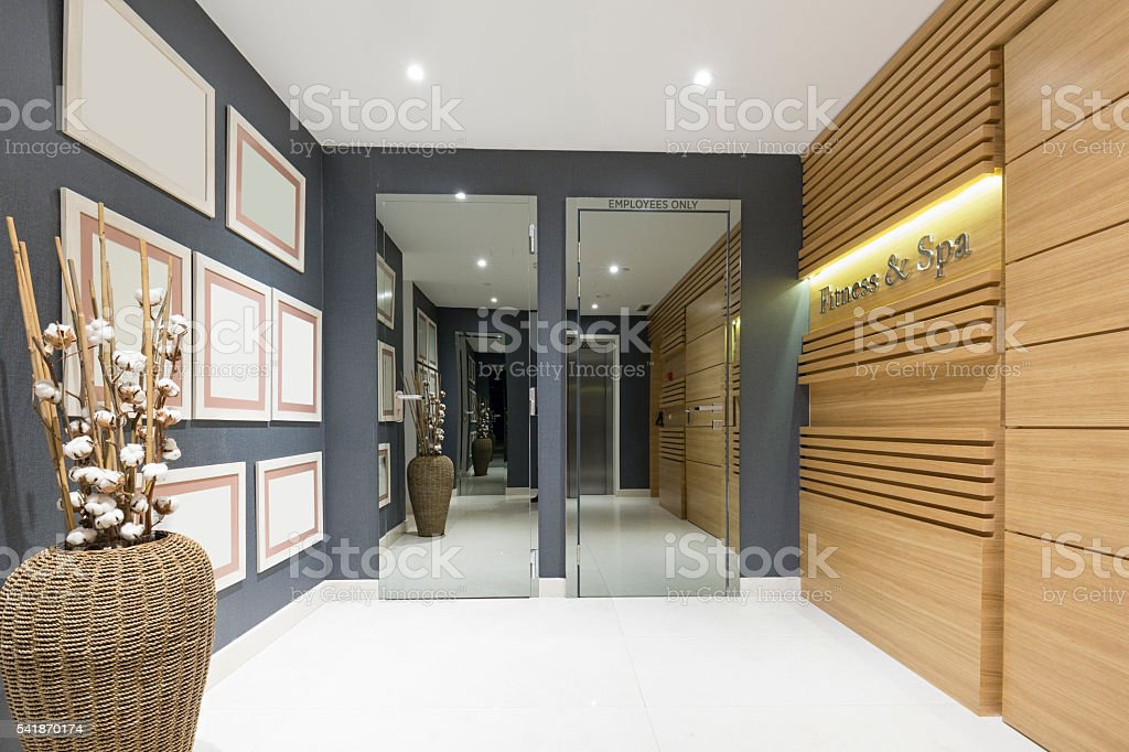 Fitness and spa center entrance stock photo