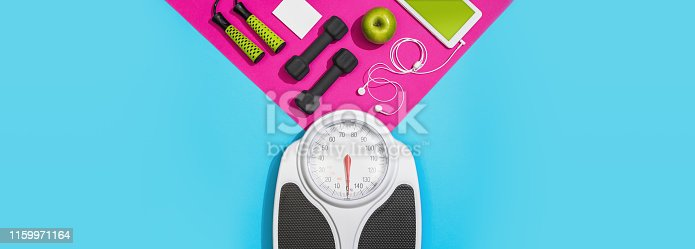 Fitness and sports plan with analog weight scale: diet and workout planning