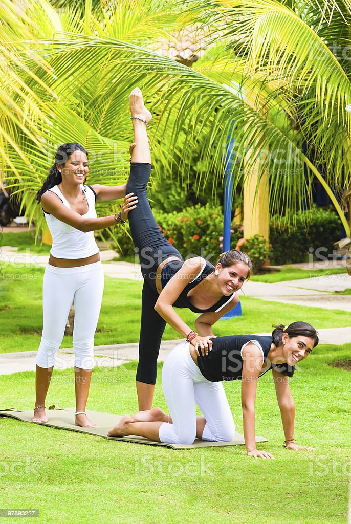 Fitness at a tropical SPA royalty-free stock photo